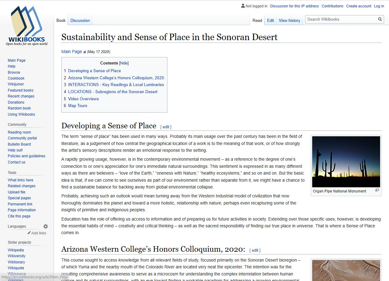 A screen capture of a wikipedia page that was created for the colloquium project. It is called Sustainability and Sense of Place in the Sonoran Desert