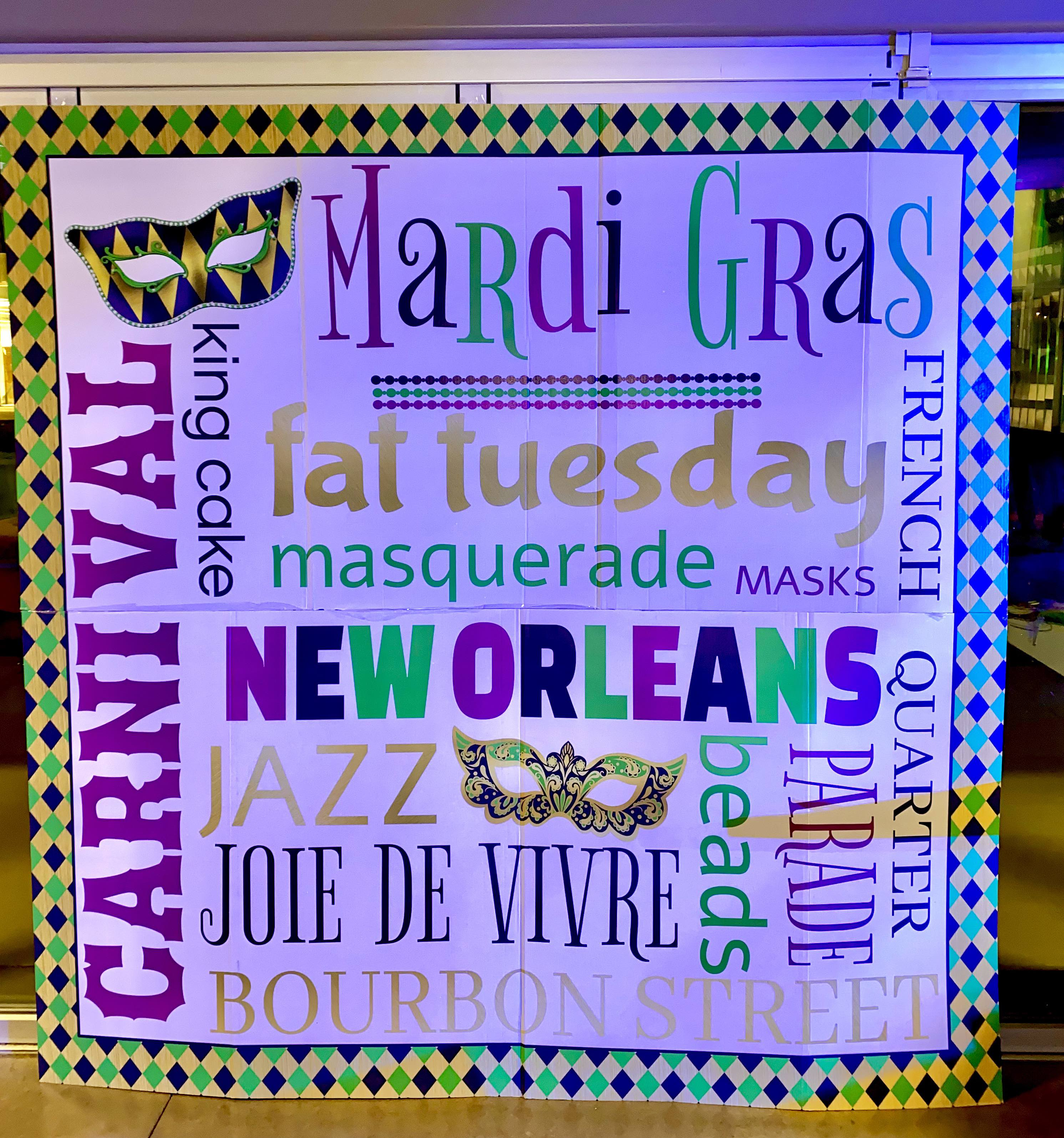 "a mardi gras themed banner filled with text phrases like ""new orleans,"" ""fat tuesday,"" & ""masquerade"""