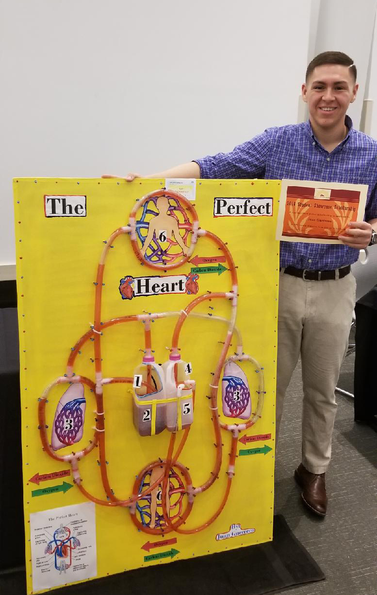 "Juan Guerrero won $1,000 for his project on scientific literacy, ""The Perfect Heart."""