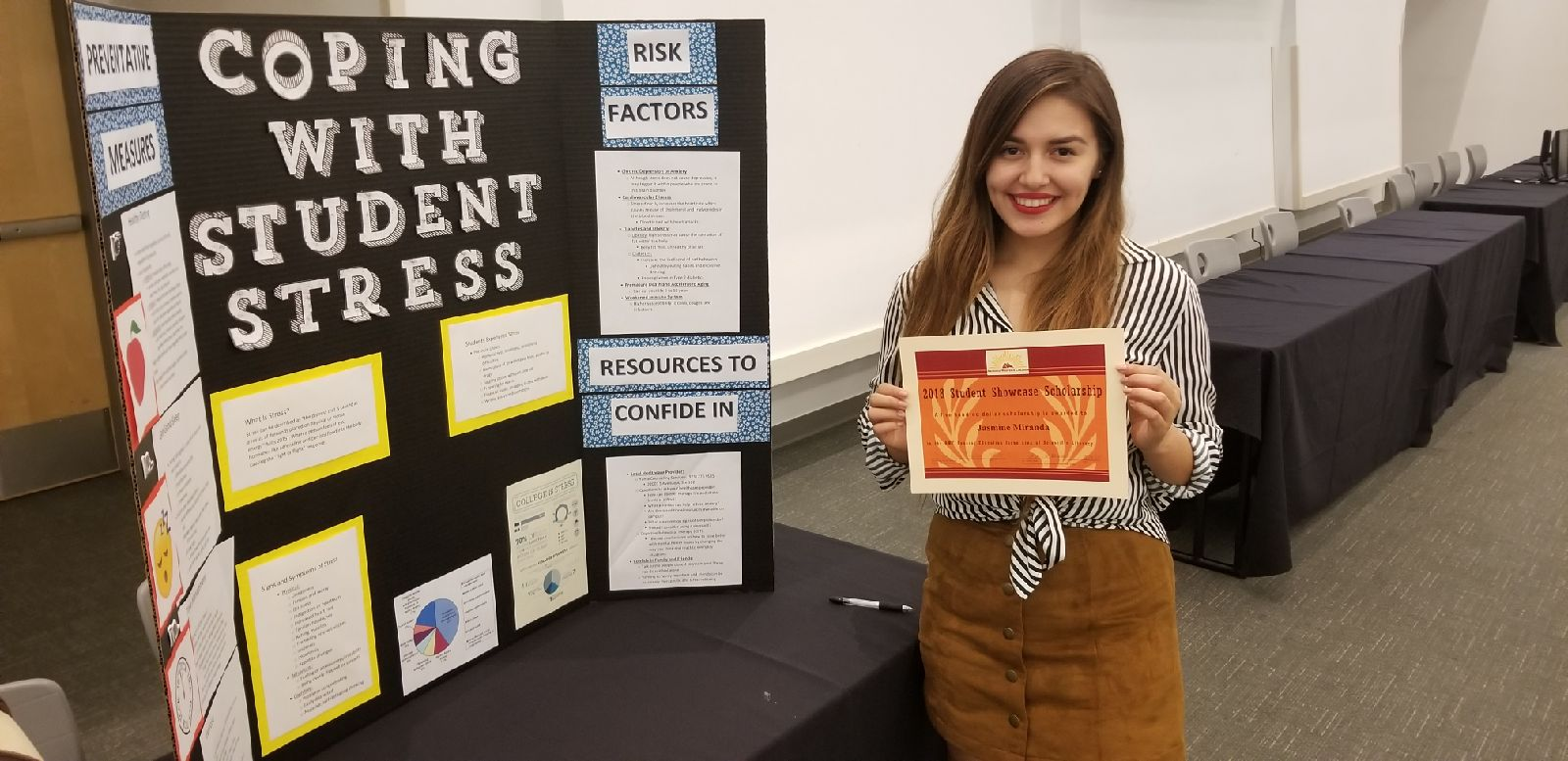 "Jasmine Miranda won $1,000 for her project, ""Prevention of Stress for Students."""