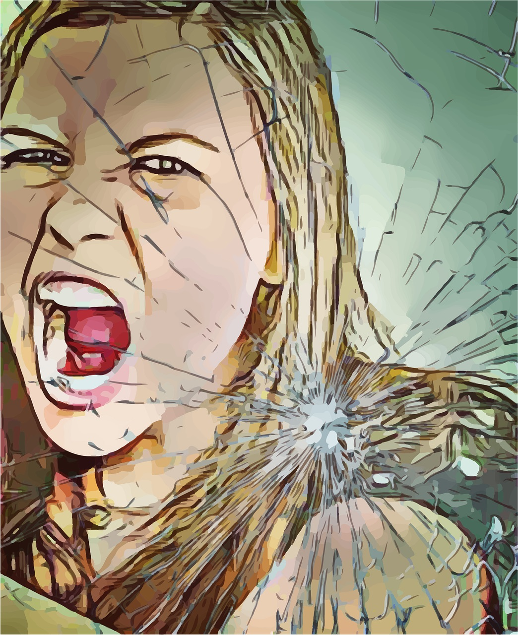 A picture edit of a blonde woman yelling is overlaid with a broken glass