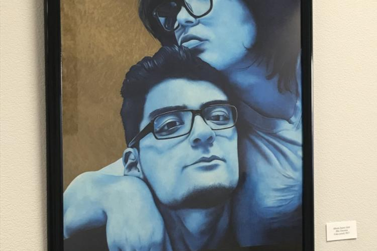 Painting of two people with glasses--one appearing masculine and one feminine--in blue