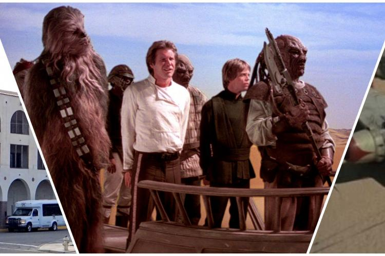 collage of 3 images featuring a local historical hotel, Star Wars characters in a desert, and a crashed plane in the desert.