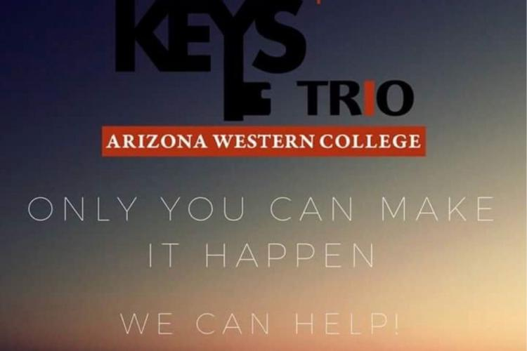 """graphic of the KEYS/TRIO program with the phrase """"Only you can make it happen. We can help!"""" over an ocean."""