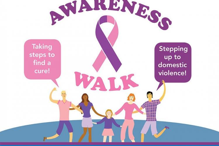 advertisement for a walk with pink and purple coloring. A group of four adults and one child are holding hands