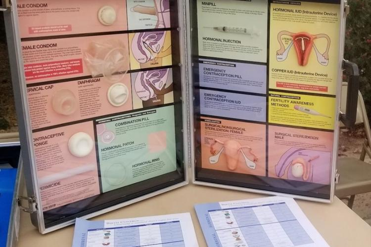 outside display about contraceptives and reproductive anatomy