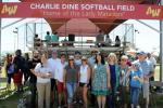 Crowd celebrates naming of softball field